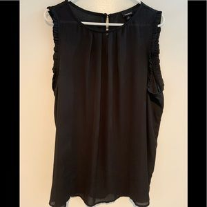 Sheer black pleated sleeveless blouse